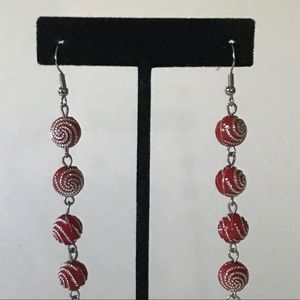 Jewelry - Silver Red Beaded Chain Earrings